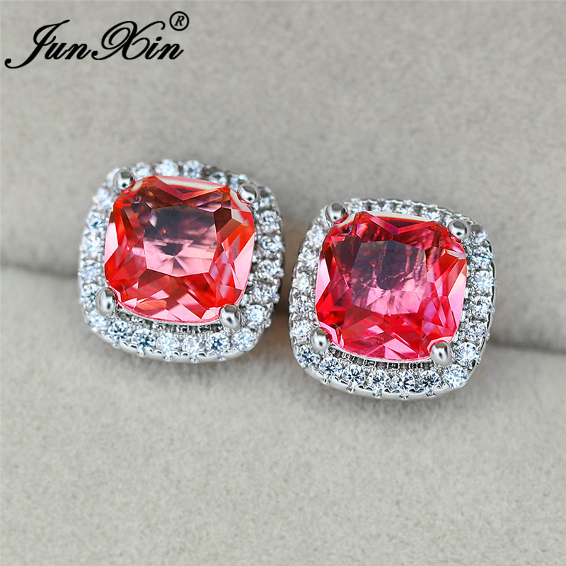 Girls Cute Pink Yellow Gradient Rainbow Fire Crystal Earrings White Gold Rose Gold Mystic Zircon Square Stud Earrings For Women
