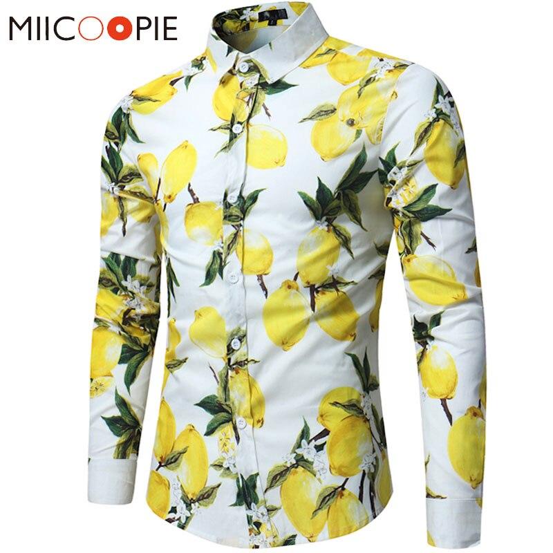 2019 Brand Men Hawaii Shirts Male Casual Lemon Printed Slim Fit Shirt Cotton Long Sleeve Dress Shirt Camisa Masculina  S-XL