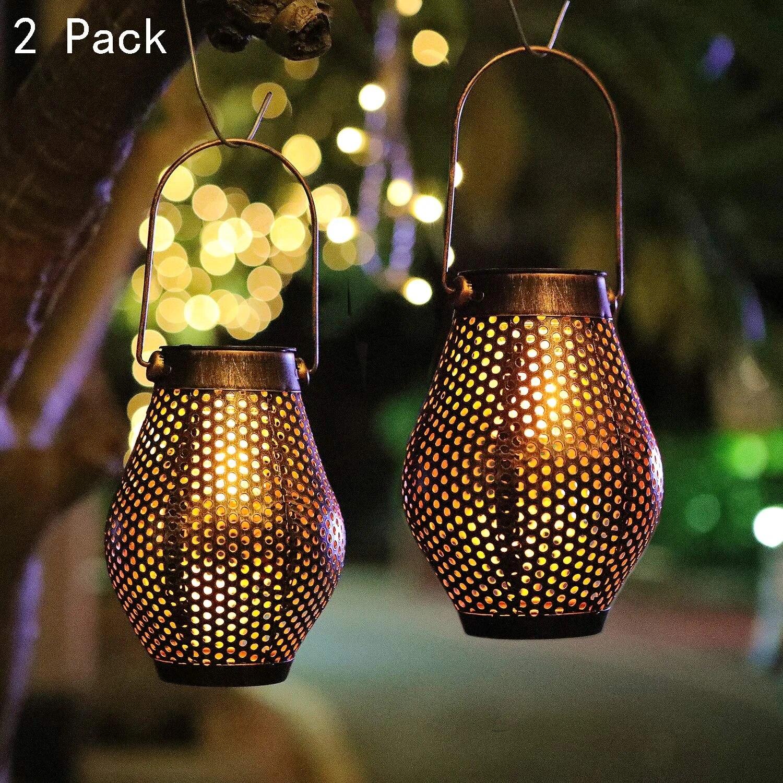 solar lantern hanging lights outdoor dancing flame iron solar powered patio lights retro waterproof hanging lights for garden