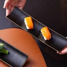 Phnom Penh – assiette à sushi rectangulaire en céramique, assiette longue de style japonais, ailes de poulet créatives pour la maison