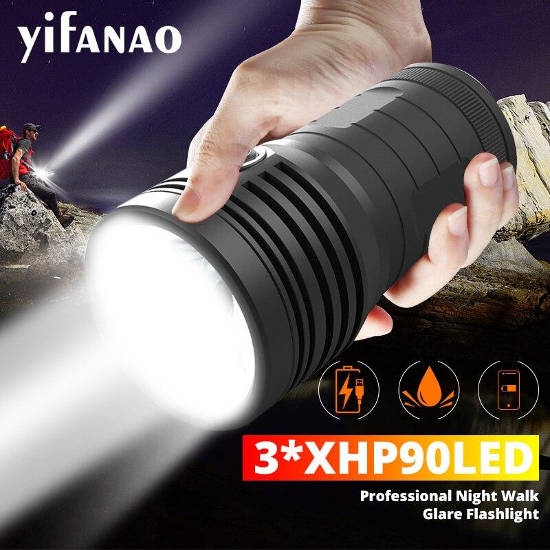 Ultra Powerful 3*XHP90 LED Flashlight 10400mAH XHP70 LED Quad Core XHP50 Built-in 18650 Battery USB Waterproof L2 Torch 3 Modes