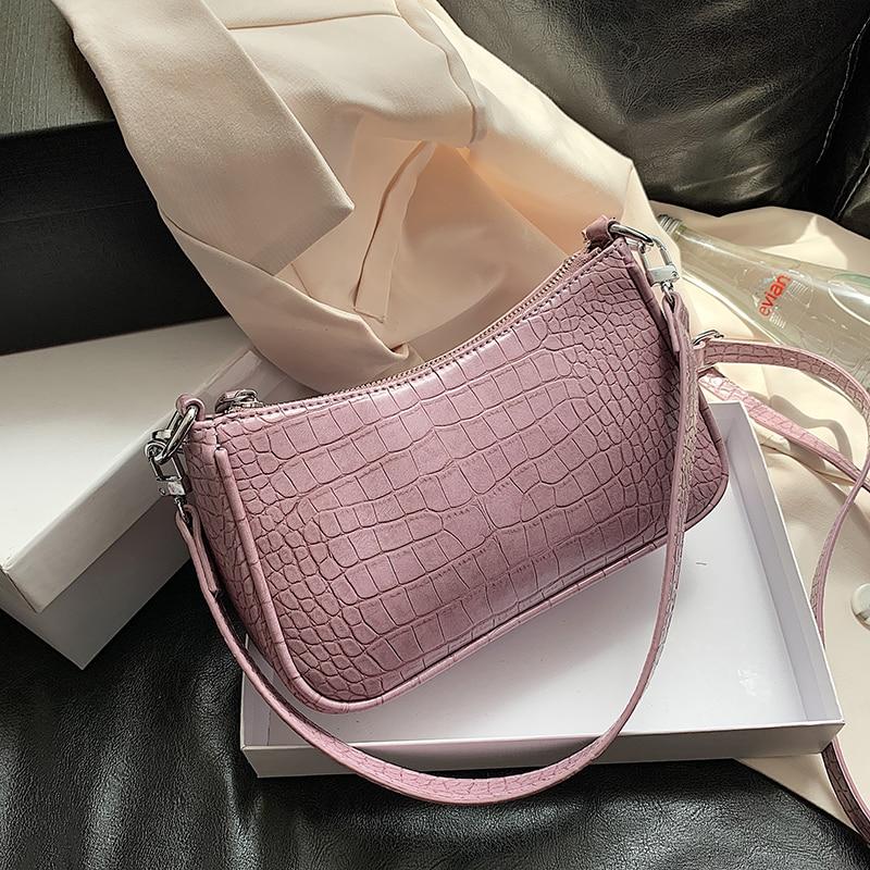 Purple Small Stone Pattern PU Leather Shoulder Bags For Women 2020 Summer Travel Crossbody Handbags Lady Cross Body Bag