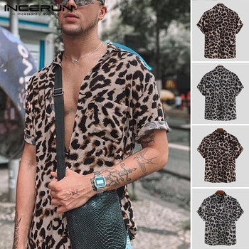 Men Short Sleeve Lapel Shirt Casual Floral Blouse Hawaiian Beach Tops Summer Leopard Print Shirts Camisa INCERUN Plus Size
