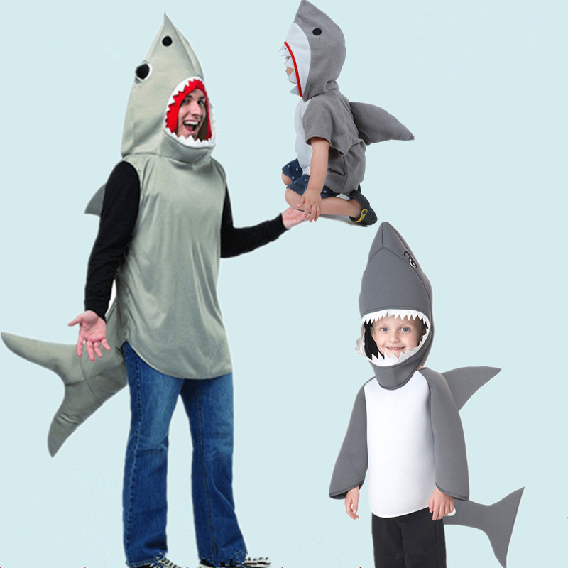 Children Animal Fish Costume Child Shark Hooded Clothes Boys Kids Shark Performance Wear Adult Men Father Son Cosplay Costumes