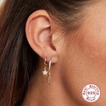 Aide 925 prata esterlina curvada cobra pingente de argola brincos para mulher gilrs noivado jóias animal zircão pendurado brinco