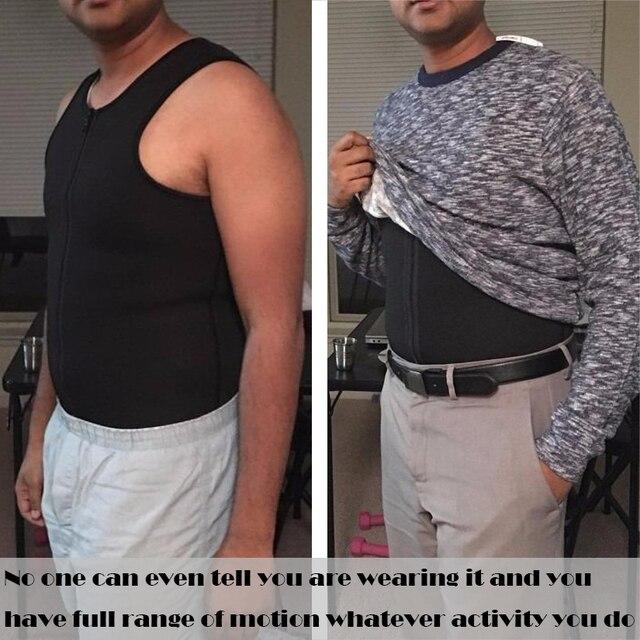 Men Body Shaper Waist Trainer Vest Slimming Shirt Sauna 5