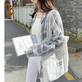 loose long sleeved shirt New collar Plaid blue Summer Tops femme Casual Women Cotton Girls Blouse Plus Size Blouses