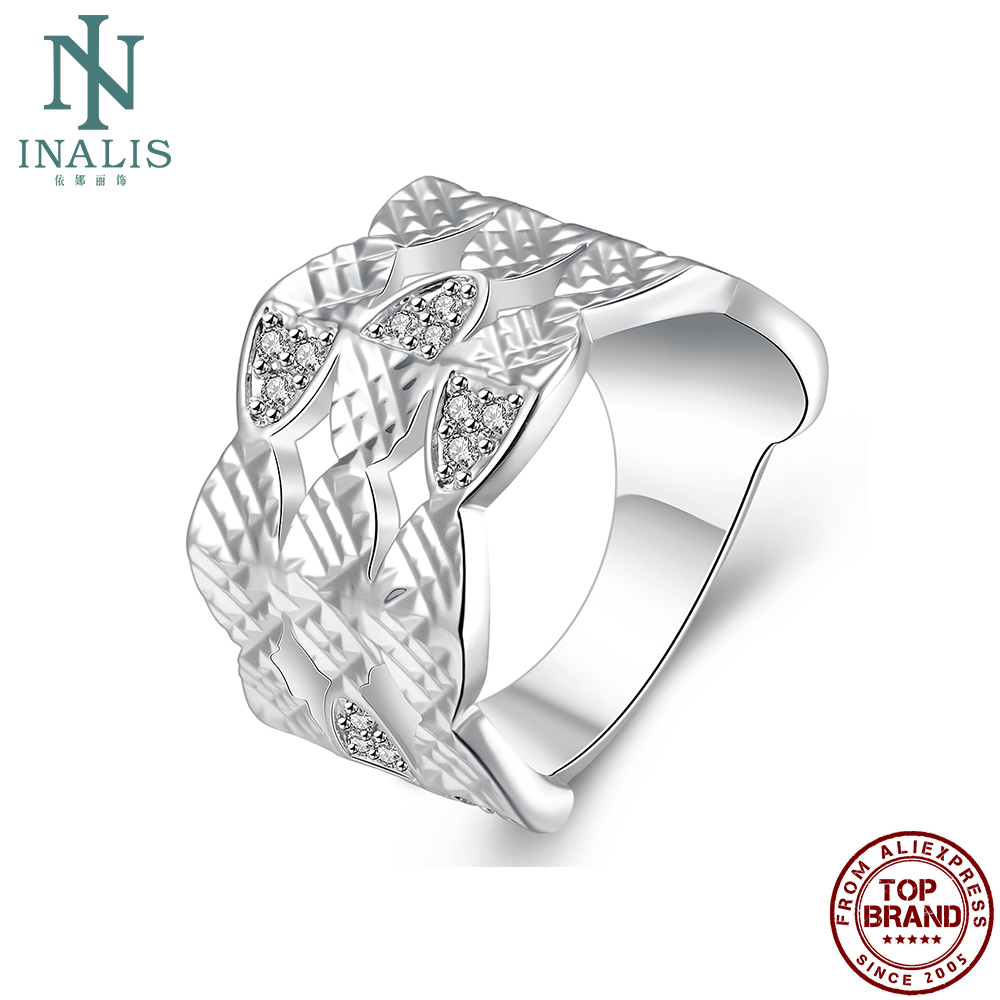 INALIS Classic White Cubic Zirconia Rings For Women Simple Fashion Style Finger Ring Anniversary Engagement Best Selling Jewelry