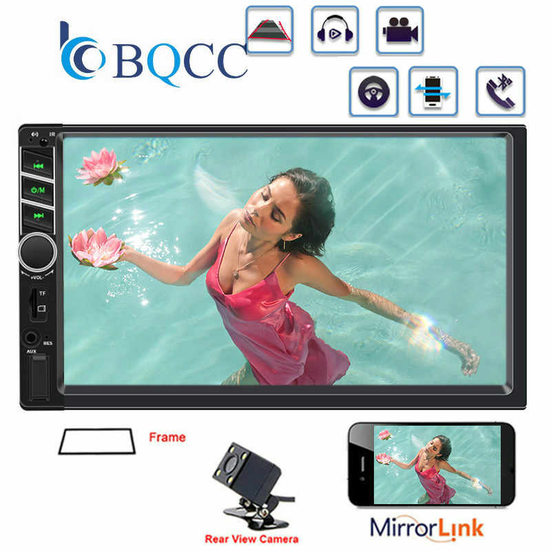 "2 DIN Mobil Radio 7 ""HD Sentuh Layar Mirrorlink Auto Bluetooth Stereo Multimedia Player Kamera Belakang Tape Recorder"