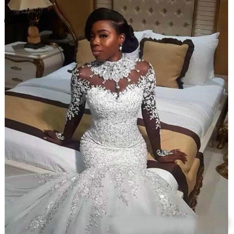 Luxury African White Mermaid Wedding Dresses Arabic Plus Size Lace Bridal Gowns Pearls Long Sleeve Wedding Dress Robe De Mariee
