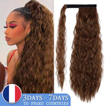 AZQUEEN Synthetic Corn Wavy Long Ponytail  Hairpiece Wrap on Clip Hair Extensions Ombre Brown Pony Tail Blonde Fack - discount item  43% OFF Synthetic Hair
