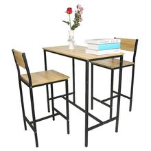 3PCS/SET Dining Room Furniture Wood Color Industrial Style Table And Chair Set HWC