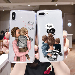 Super mom dear mommy baby soft silicone TPU phone case for iPhone 12pro 11Pro Max 12mini SE2020 7 8 8PLUS X XR  XS MAX