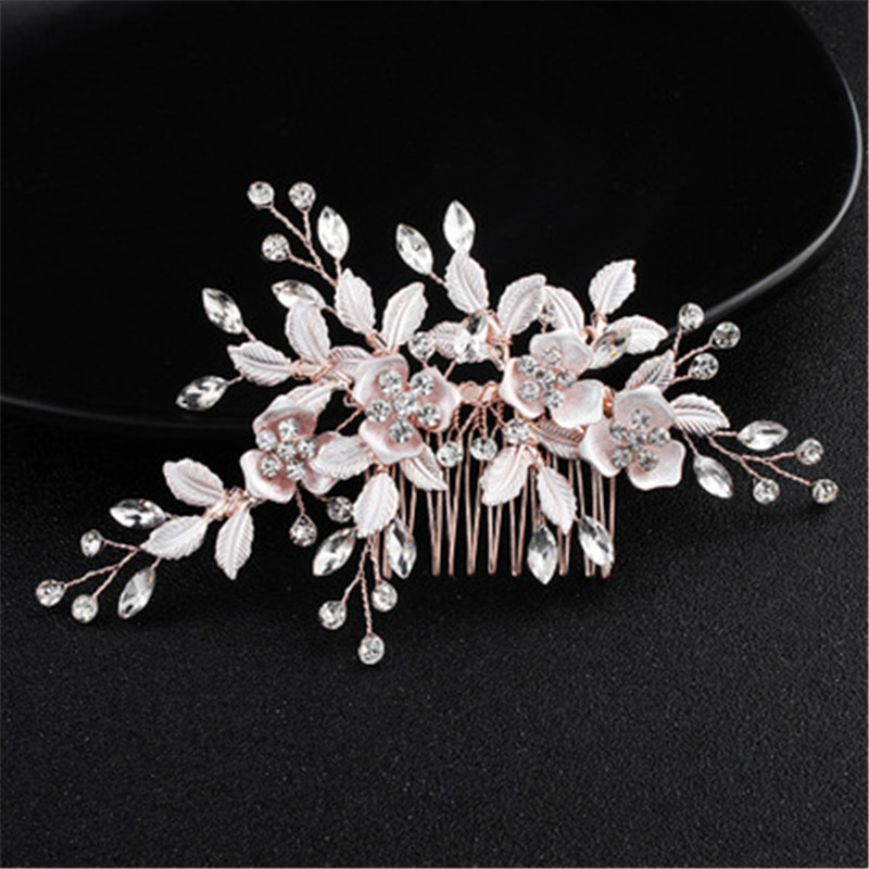 Gold Bridal Rhinestone Comb Bride Jewelry Wedding Accessories Bridal Hair Clip Bride Headdress Handmade Silver Women Headpiece