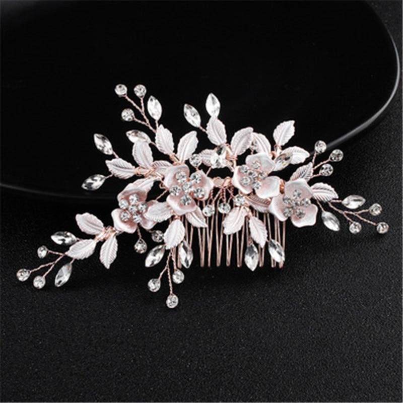 Gold Bridal Rhinestone Comb Bride Jewelry Wedding Accessories Bridal Hair Clip Bride Headdress Handmade Silver Women Headpiece