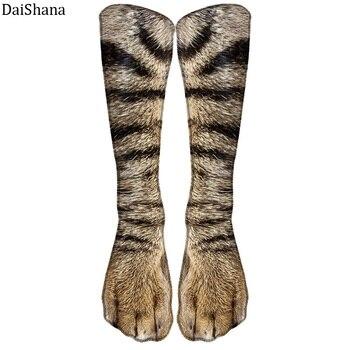 Hot Sales Unisex Sock Animal Paw Pattern 3D Print Long Socks Cat Zebra Leopard Pig Duck Elastic Breathable Funny - discount item  45% OFF Women's Socks & Hosiery