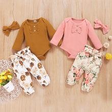 Maluch dziewczynek ubrania zestawy z długim rękawem Ruffles Romper body + spodnie w kwiaty lato noworodka stroje dla dzieci