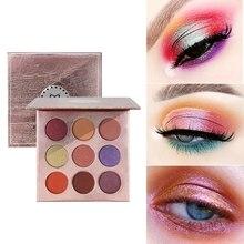 9 цветов блестящие тени для макияжа Pallete матовые тени для век Палитра мерцающие и блестящие розовые тени для век порошок пигмент косметика