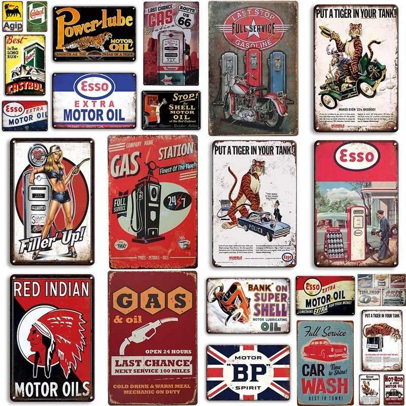 TIN SIGN Bank On Super Shell Oil Gas Auto Vintage Retro Wall Art Decor