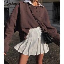 Rockmore Braun Pullover Sweatshirts Frauen 90S Ästhetischen Übergroßen Hoodie Feste Beiläufige Harajuku Warme Winter Weibliche Sweat Shirt
