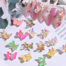 5PCS  Super Shiny AB Crystal Butterfly Nail Art Decoration  Holographic Butterflies Rhinestones DIY UV Gel Manicure Accessories
