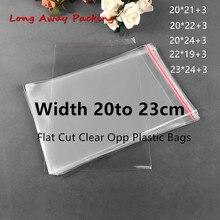 너비 20cm 대형 플라스틱 투명 가방 Opp 가방 의류 포장 저장 장난감 선물 가방 여러 크기 자기 접착제