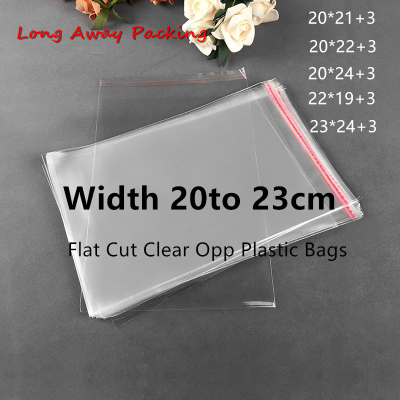 Width 20cm Large Plastic Transparent Bags Opp Bag Clothing Packing Storage Toy Gift Bag Multiple Size Self Adhesive