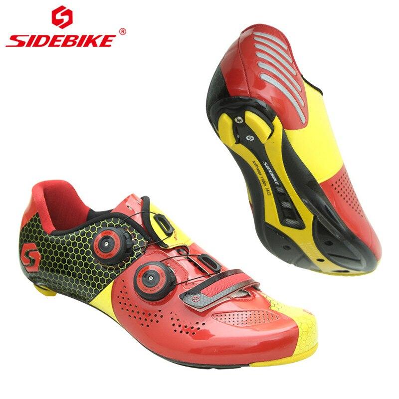 Sidebike, Ультралегкая велосипедная обувь из углеродного волокна, дышащая, для шоссейного велосипеда, самоблокирующаяся, велосипедная обувь, с