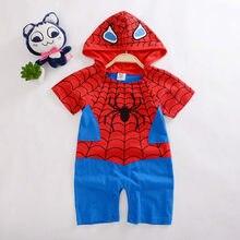 Verão bebê recém-nascido meninos macacão dos desenhos animados spiderman impressão infantil meninas macacões de algodão hoodies manga curta roupas bebe