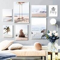Cuadro sobre lienzo para pared, carteles nórdicos e impresiones de imágenes de pared para decoración para sala de estar, olas de mar, palmera, columpio, paisaje marino