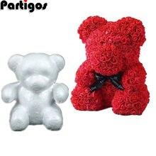 Bola de espuma de poliestireno, oso rosa, manualidad blanca para decoración de fiesta DIY, boda, cumpleaños, regalo del Día de San Valentín, 1 Uds.