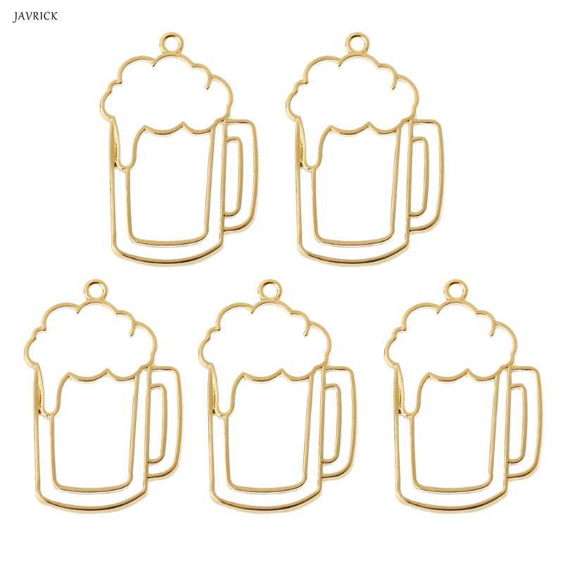 5Pcs Beer Tumbler Resin Blank Frame Pendant Open Bezel Setting Jewelry Making Resin Mold Tool