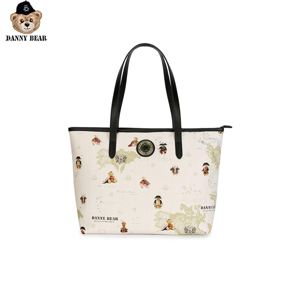 Danny Bear Women Global Bear Series Causal Daily Beige Shoulder Bag Cartoon Zipper Bag  DTB9916033-023B