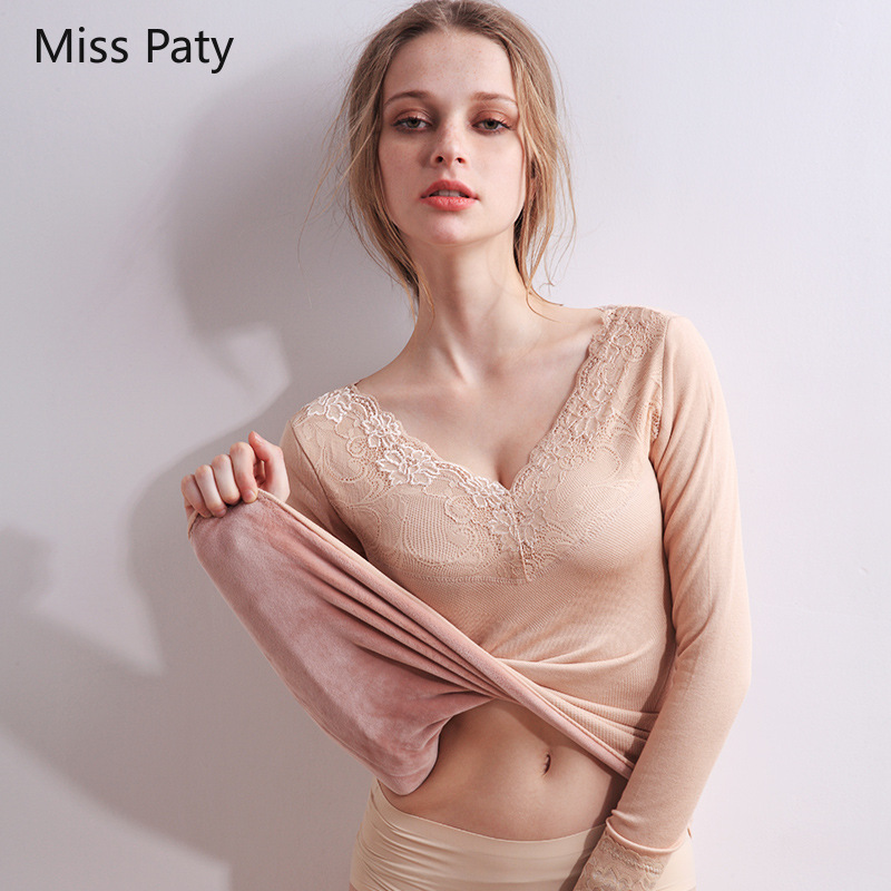 Sexy Lace V-neck Floral Velvet Women's Long Johns Thermal Thick Shirt Seamless Warm Underwear Winter Ladies Top For Women 2019