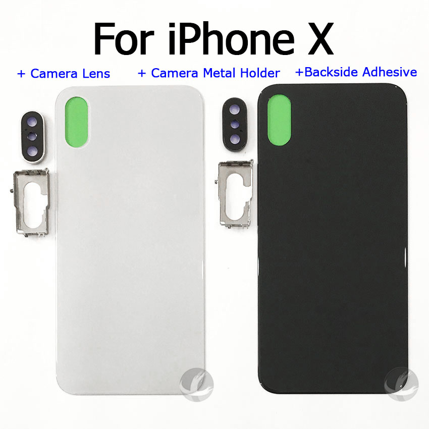 Back Housing With Camera Lens + Metal Holder + Adhesive For Iphone X XS Max XSM Rear Glass Cover Lid + EU Europe Version + LOGO