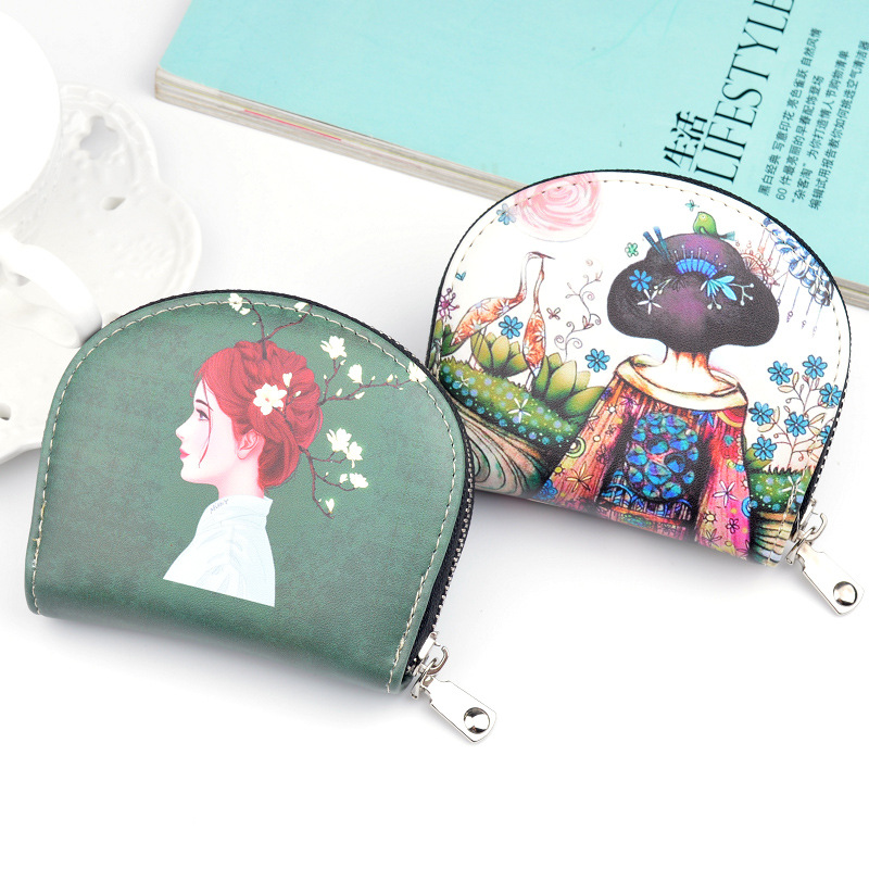 New Brand Designer Creative Painting Wallet For Women Card Holder Short Zipper Coin Purse Fancy Pu Leather Cute Women Wallets Small Handy Bag Ladies Clutch W266