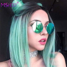 Парик короткий прямой для женщин, синтетические волосы с эффектом омбре красного, зеленого, фиолетового, розового цветов, для косплея Msholy