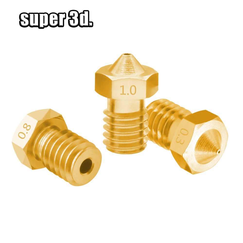 3D Imprimante Accessoires V5 V6 Cuivre buse M6 fil 0.2 0.25 0.3 0.4 0.5 0.6 0.8 1.0mm for1.75mm 3.0mm filament Buses En Laiton