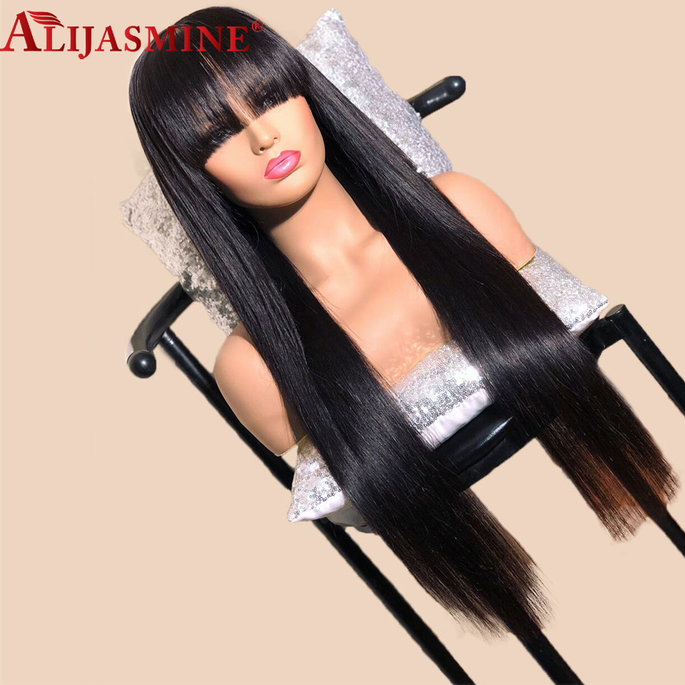 Long Straight Remy Lace Wig Brazilian Glueless Lace Front Human Hair Wigs With Bang Pre Plucked Bleached Knots For Black Women