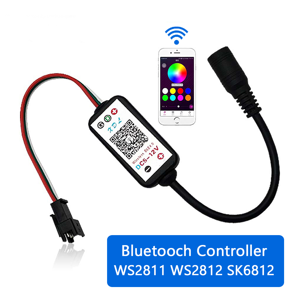 DC5-12V 192W 3Pin Pixel Smart IC RGB LED Bluetooth Controller For WS2811 WS2812 SK6812 Strip Light