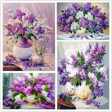 Flower Canvas Diamond Embroidery Flower Diamond Painting Set Embroidery Kit Diamond Painting Full Round flower embroidery front smock top