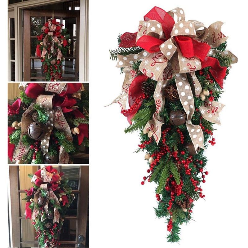 LBER Рождественское украшение Swag венок лента сосновый конус дверное крепление каплевидный венок наружное висячее украшение на стену