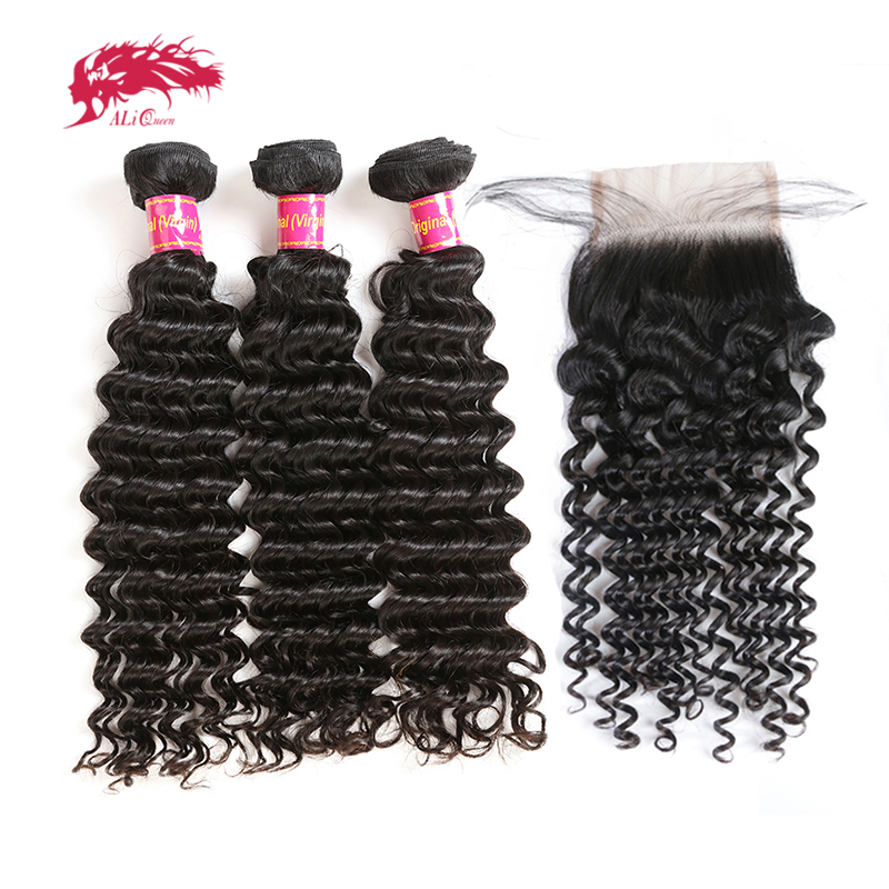 Ali Queen Hair Brazilian Deep Wave 3/4Pcs Virgin Human Hair Bundles With Closure Free Part Bundles With Frontal Natural Color