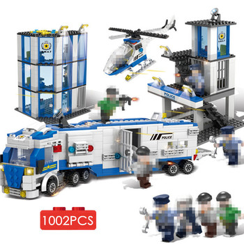 1002pcs City Special Police Prison Break Station Cop Car Jail Cell Helicopter Building Blocks DIY Toys Bricks For Boys Children