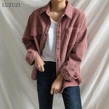 LUZUZI Harajuku вельветовые куртки женские зимние осенние пальто плюс размер пальто женские большие Топы Милые однотонные куртки рубашка
