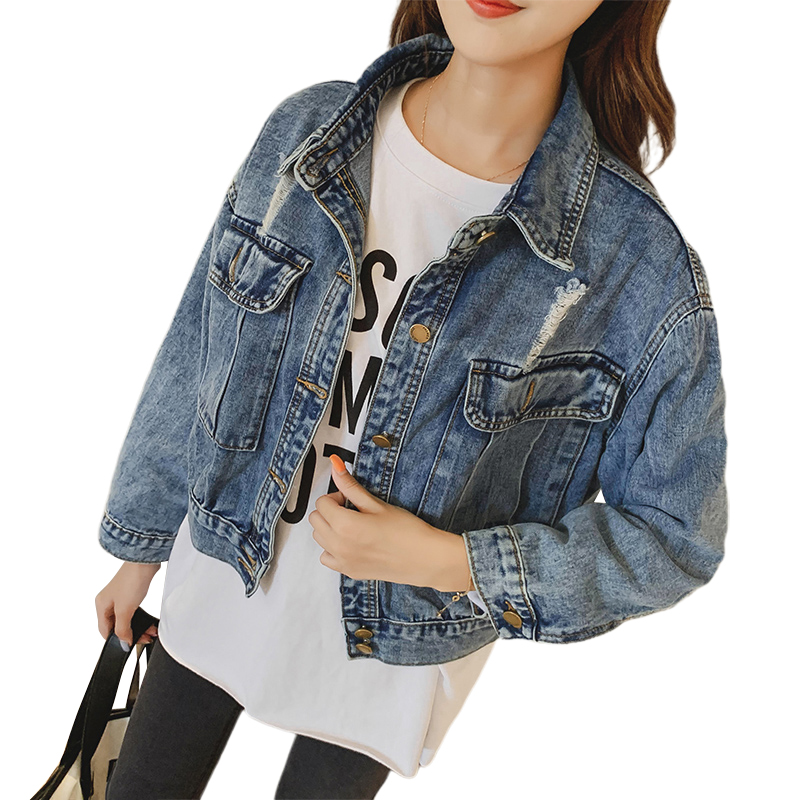 Short Denim   Jacket   Women 2019 Ripped Hole Jeans   Jacket   Solid Turn-down Collar   Basical     Jacket   Loose Casual Coats Female Outwear