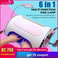 Moremili 6 in1 Nail Milling Machine Dust Suction Vacuum 54W LED Nail UV Lamp Metal Polisher Dental Polishing Electric Nail Drill