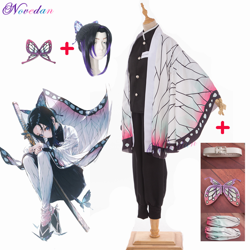 Anime Demon Slayer Kimetsu No Yaiba Kochou Shinobu Cosplay Costume Women Kimono Uniform Halloween Christmas Party Costume Wig