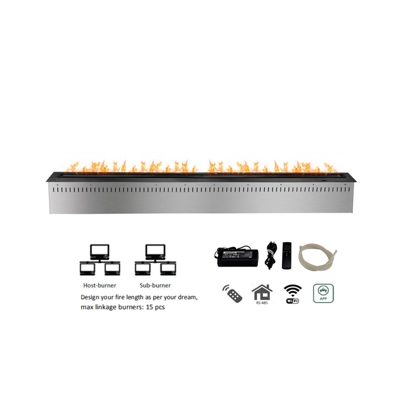 60 Inch Fireplace Burner Insert Remote Smart Home Decor