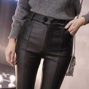 Pants Tight-Trouser Pencil Velvet Thin Faux-Leather Women Skinny Autumn Winter Stretch